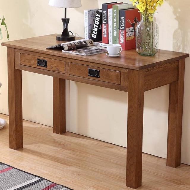 Table Oak Wood Desk Study Computer American Country Oak Furniture