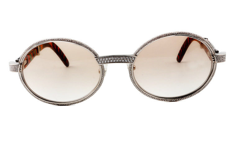 Cartier 55-22 Full Diamond Peacock Wood Silver Frame Brown Round Lens (2)