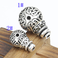 Vintage 925 Prata Tibetano Mala Guru Guru Bead Prata Flor Sorte Budista Mala Guru Bead