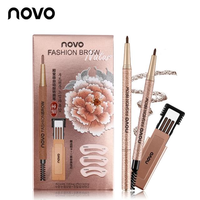 3pcs/lot NOVO Brow Makeup Set Eyebrow Pen + Refill + Eyebrow Stencils 4 Color Optional Long Lasting Eye Brow Pencil 2