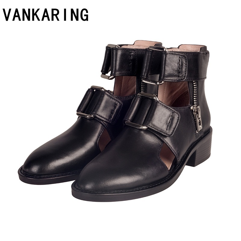 VANKARING summer casual shoes autumn european and American fashion women genuine leather ankle boots for women chelsea bootsVANKARING summer casual shoes autumn european and American fashion women genuine leather ankle boots for women chelsea boots