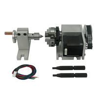 High Quality CNC 4th Axis A Axis Rotary Axis with 50mm 3 jaw chuck Center Height 44mm for CNC Router Engraver Milling Machine|Tool Parts|   -