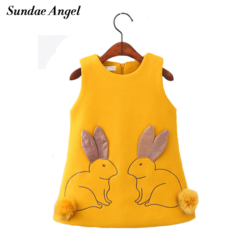 Sundae Angel Girl Dress Princess Sleeveless Cute Round Neck Rabbit Pattern Thicken Cotton for Kids Children's Girls Dresses 2-7Y женская куртка every girl is an angel xz123