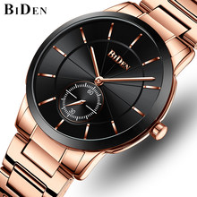 BIDEN Mens Watches Top Luxury Brand Men Simple Business Watch Fashion Stainless Steel Waterproof Wrist Watch Relogio Masculino(China)