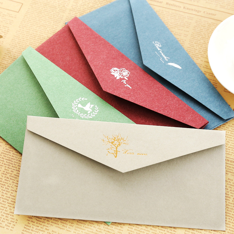 Us 1 21 24 Off Western Color Paper Envelope Red Rose Business Invitation Letter Cover Vintage Bronzing Envelope For Message Card Greeting Gifts In