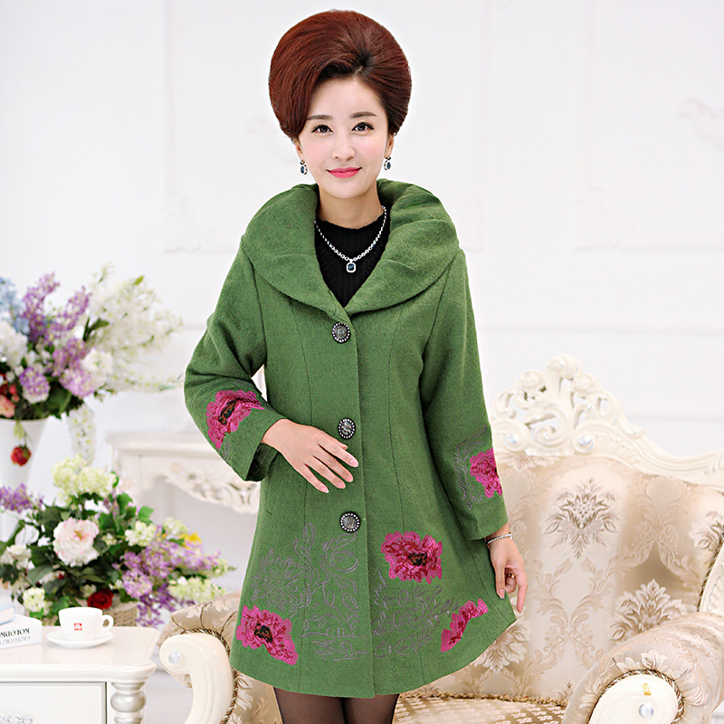 Winter Coat Women Middle-aged And Old Fashion Long Woolen Cloth Coat Mother Embroider Womens Winter Coats 2017 Wool Coat Women