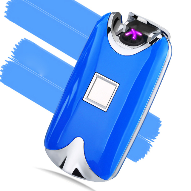 2017 new fashion and hot selling USB Electric Dual Arc Metal Flameless fingerprint Rechargeable Windproof Lighter