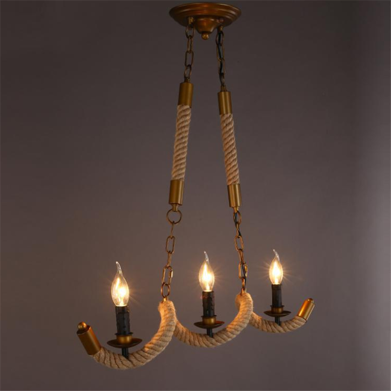 3 Head American Countryside Waves Rope Dining Pendant Light Vintage Bar / Living Room Light Cafe E14 Lights Free Shipping