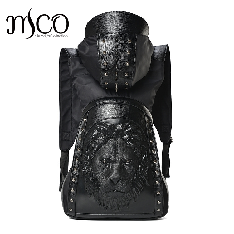 Large Capacity Men Restore 3D Rivets Lion backpack gothic 3D embossed leather Shoulder Bag with Hood Cap Apparel Travel Backpack mco large capacity men restore 3d cool lion backpack gothic embossing bag leather shoulder bag with hood cap travel backpack