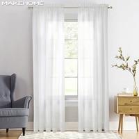 Estándar/engrosada de ventana cortinas para sala de estar decoración de dormitorio moderno blanco velo sólida pura gasa tul