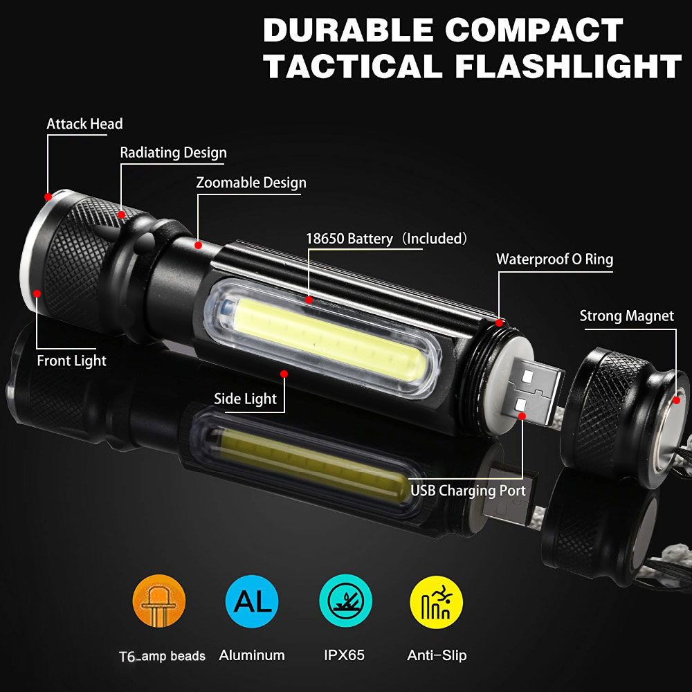 Image 2 - Multifunctional LED Flashlight USB Rechargeable battery Powerful T6 torch Side COB Light design Flashlight tail magnet WorkLight-in LED Flashlights from Lights & Lighting