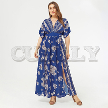 цены на CUERLY Boho floral print plus size women holiday dress V neck short sleeve split long vestidos Summer female beach dress 2019 в интернет-магазинах