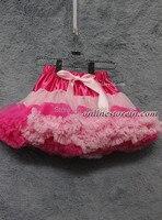 Children tutu pink rainbow chiffon fluffy pettiskirts patchwork kids girls dancing skirt