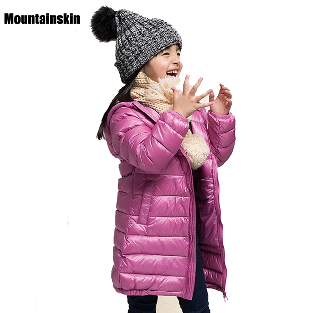 2016 NEW Girls Winter Light White Duck Down Coat Kids Hooded Jackets 3-10Y Children's Clothes Thermal Long Parka Outerwear SC677