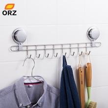 ORZ Stainless Steel 8 Hooks Kitchen Storage Organizer Rack Wall Mount Bathroom Shelf Hanger Decorative Key Towel Holder Hook