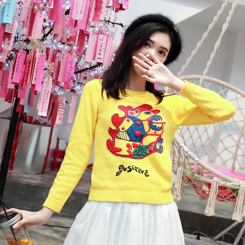 Chandails de luxe de monstre de broderie de piste des femmes 2018 automne hiver haut de gamme pull Streetwear Pullover jaune partie mince hauts