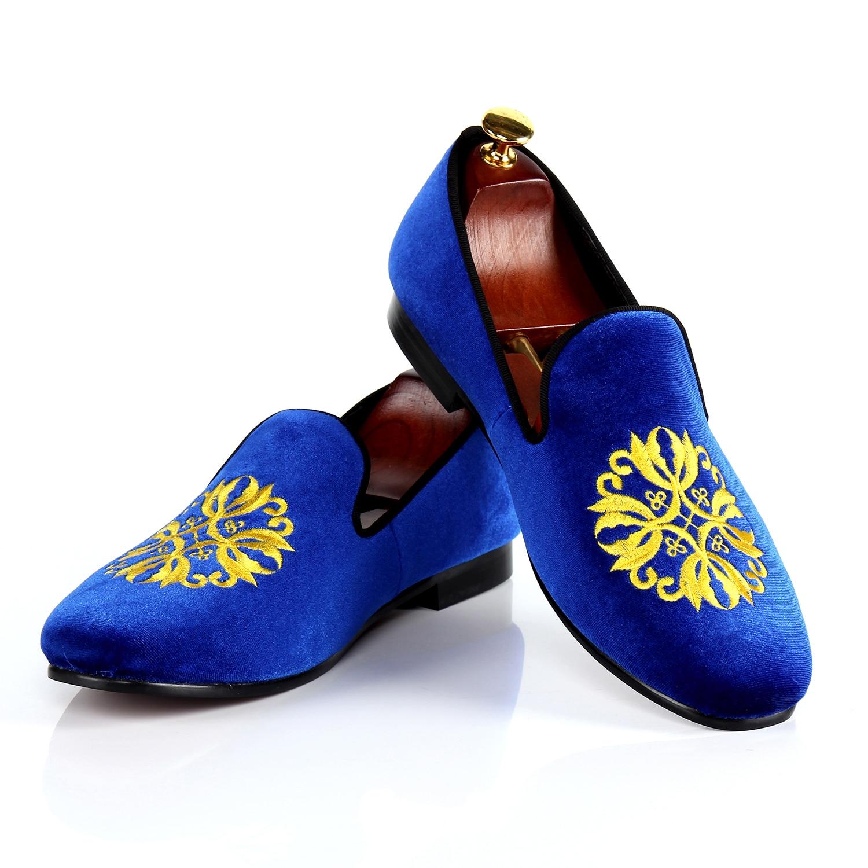 Harpelunde Italian Shoes Men Blue Velvet Slippers Motif Loafer Shoes For Wedding Leather lining 7-13
