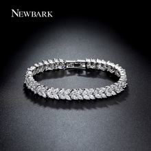 NEWBARK Luxury Leaves Bracelet Silver Color Cubic Zircon Leaf Shape Vintage Bride Wedding Bracelet Bangle For