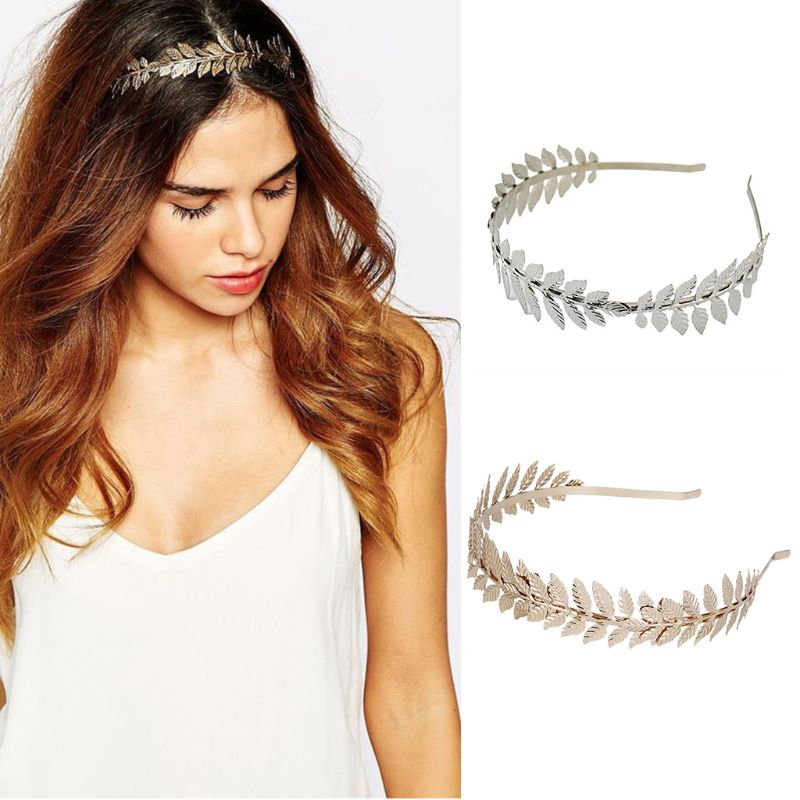 European Greek Goddess Headband Metallic Gold Silver Leaves Branch Crown Hair Band Wedding Bridal Tiara Shimmer Hair Accessories