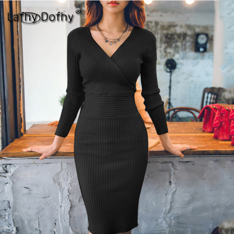 Korea 18 new style women Aristocratic knitted sweater skinny sexy female one-step short dress long sleeve front and back V-neck