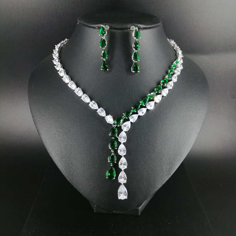New fashion Tassels green yellow crystal red zircon wedding necklace earring set,bride dressing,dinner ball party jewelry setNew fashion Tassels green yellow crystal red zircon wedding necklace earring set,bride dressing,dinner ball party jewelry set