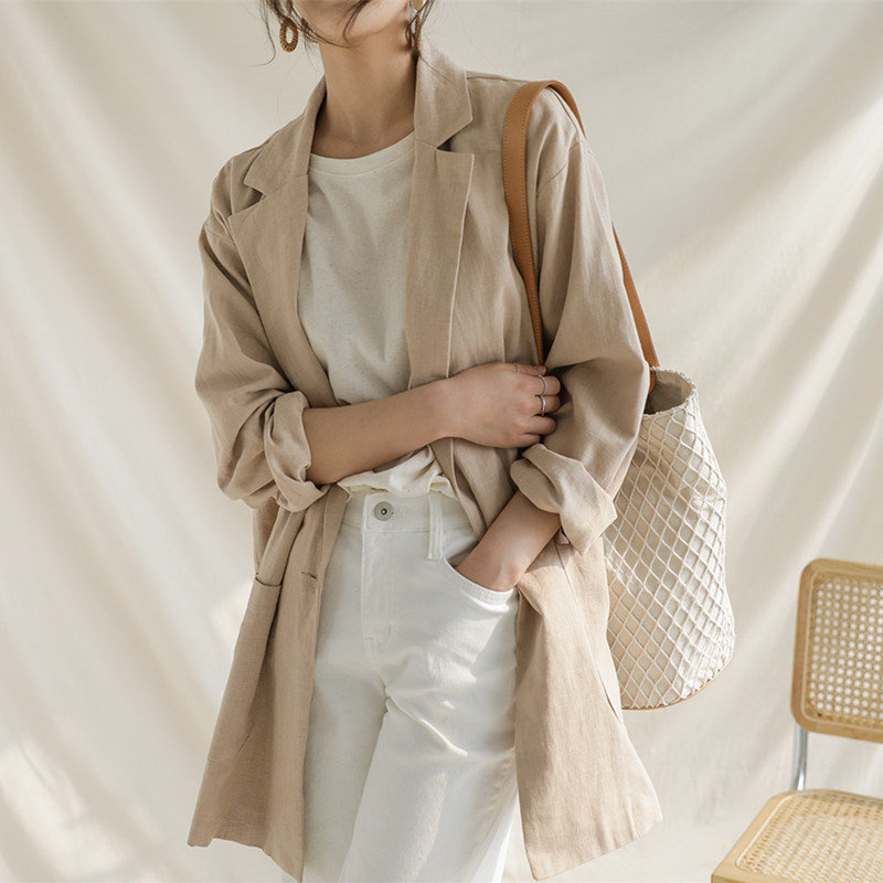 HziriP Summer Women Chic Simple Full Sleeves Single Button Office Ladies Fashion Vintage Loose All Match Blazer Large Size