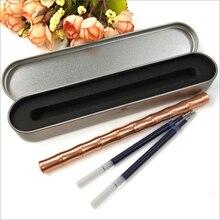 1pcs Vintage Brass Bamboo Gel Pen Creative Handmade Metal Copper Gift box Pen Ballpoint pens Kawaii Office Stationery Supplies