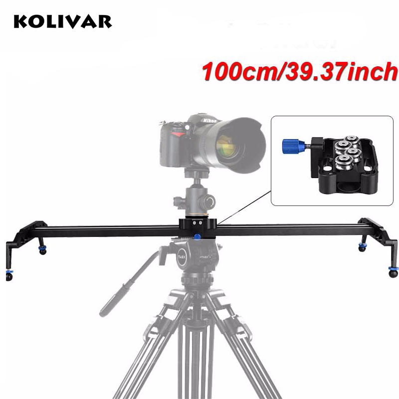 KOLIVAR 100cm/39 DSLR Camera Track Dolly Slider Video Stabilization Rail System Photo Studio Slider For Canon Nikon Sony fotomate lp 02 200mm movable 2 way macro focusing rail slider black