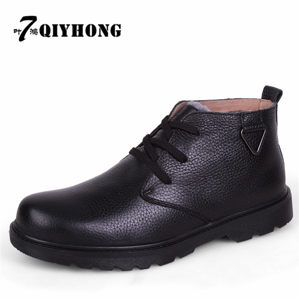 New Fashion Genuine Leather Winter Krasovki Add Fur Men Ankle Boots Warm Winter Snow Warm Men