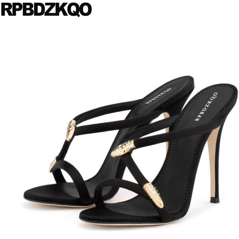 Shoes Embellished Stiletto Snake Black Slip On Wedding Pumps High Heels Gold  Slides Designer Sandals Women d937ab15772a