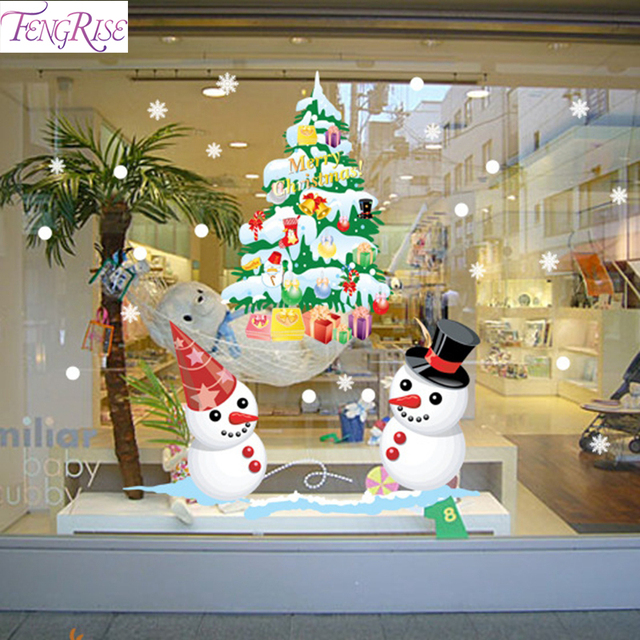 Fengrise Snowman Christmas Wall Stickers Christmas Decorations For