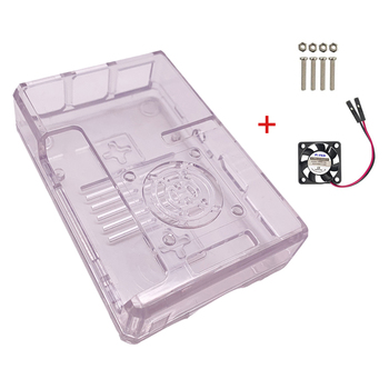 New Case ABS transparent/ red/blue/black housing with CPU cooling fan for Raspberry Pi 3 Model B/B+ DIY Video Game Console