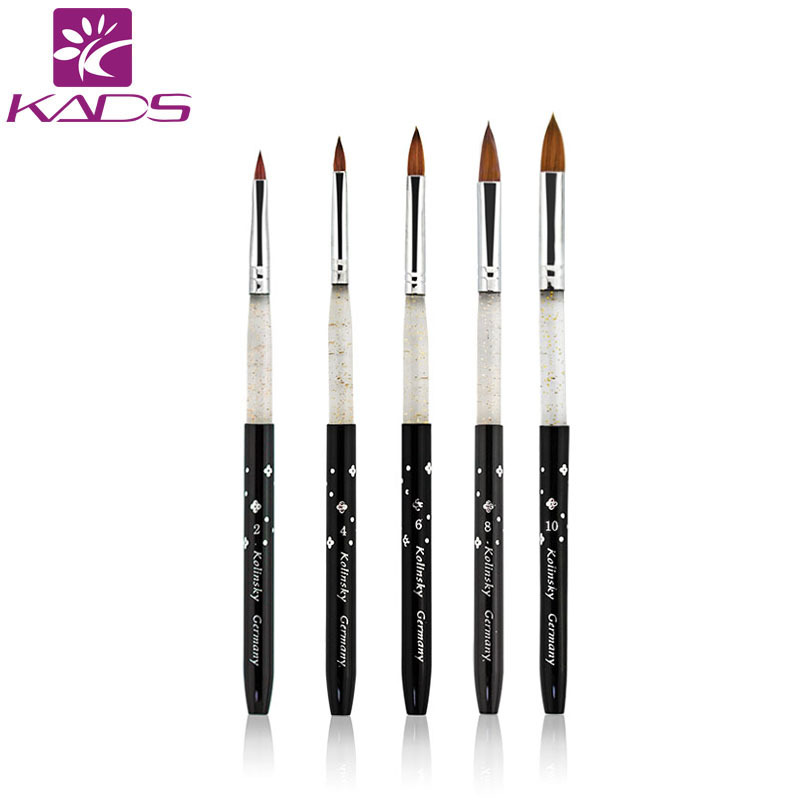 100% Kolinsky Sable acrylic brush 5pcs/SET size 2#/4#/6#/8#/10#.acrylic brush black kolinsky sable acrylic kolinsky nail brush osaka acrylic nail kolinsky brush 14