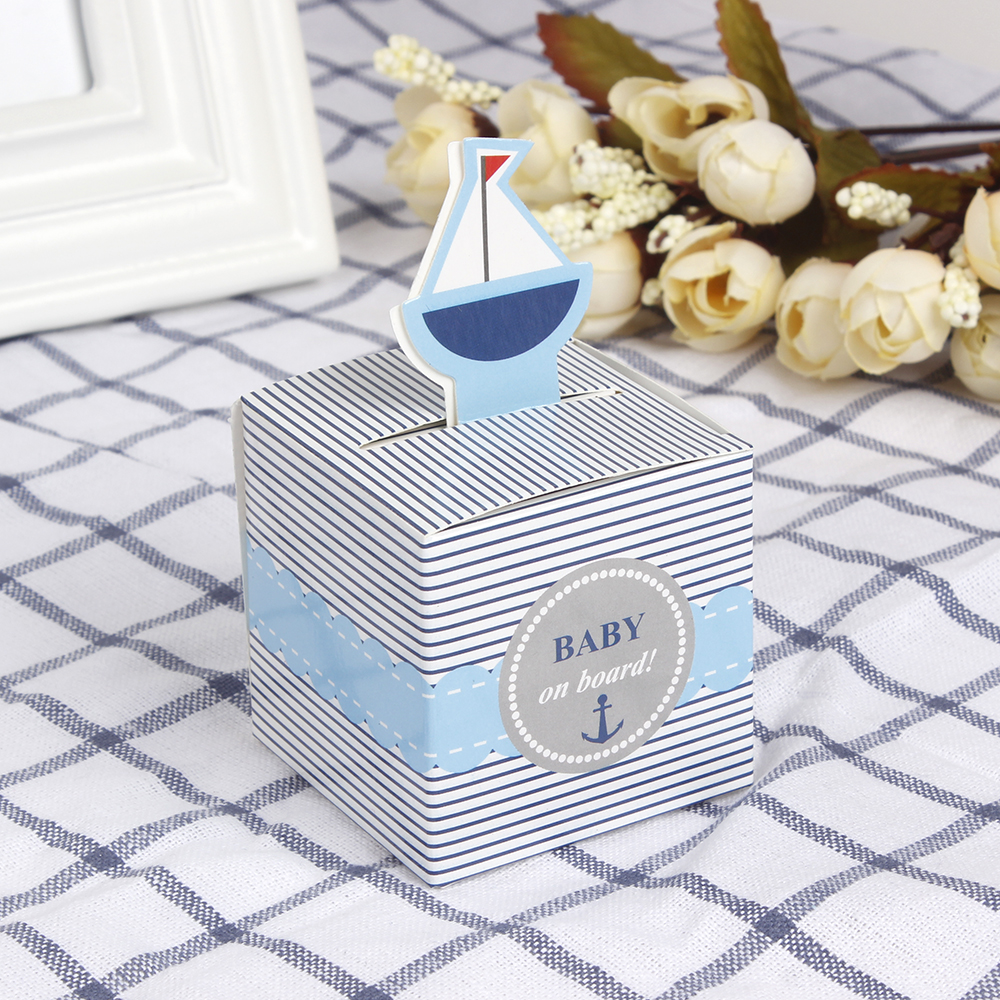 12Pcs Baby On Board! Pop-Up Sailboat Baby Candy Box Blue Birthday Party Baby Shower Decorations Kids Favor Gift Box