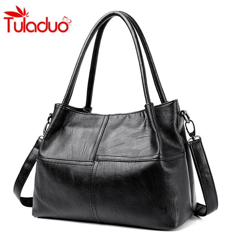 цены на Fashion Leather Handbag Women Shoulder Bag Ladies Simple Luxury Handbags Large Casual Shoulder Messenger Bag Mummy Bags Sac Tote в интернет-магазинах