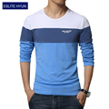 2017 NEW fashion brand casual fitness tshirt striped patchwork Long Sleeve t shirt men Slim Fit t-shirt plus size 3XL 4XL 5XL