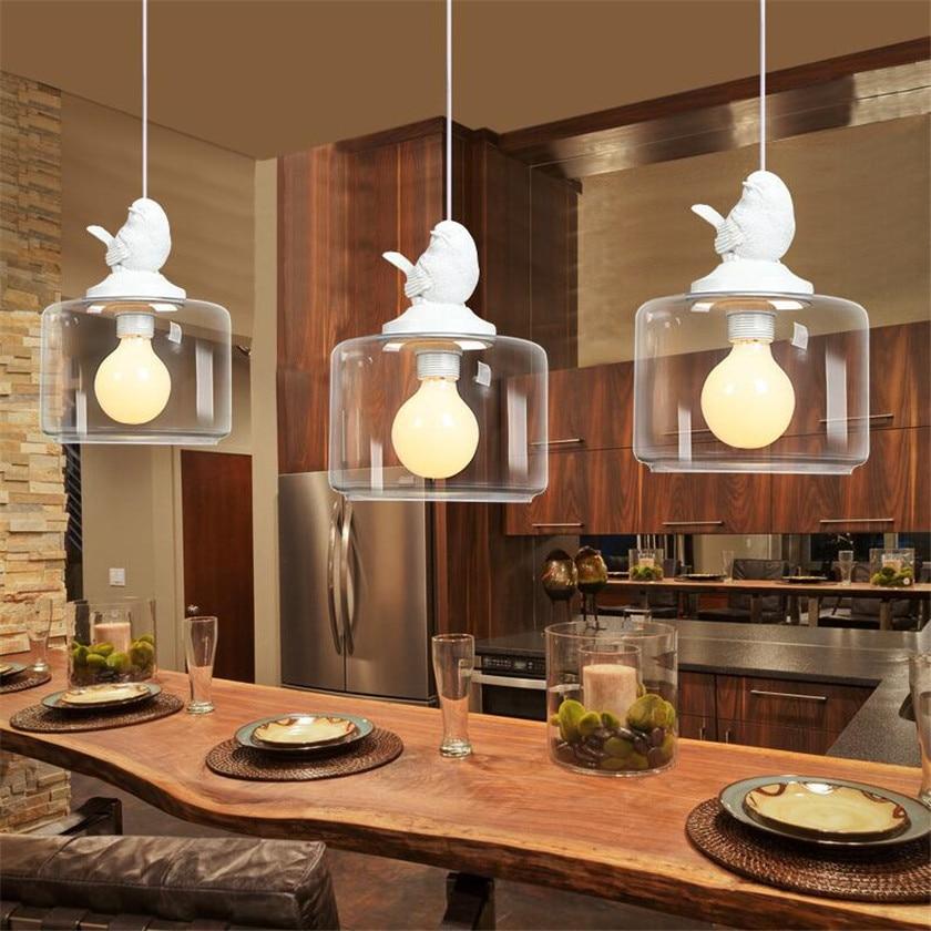 Nordic Modern LED resin bird pendant light Birdcage Droplight Wrought Iron glass Pendennt Lamp for Cafe Bar lustre hanging lamp