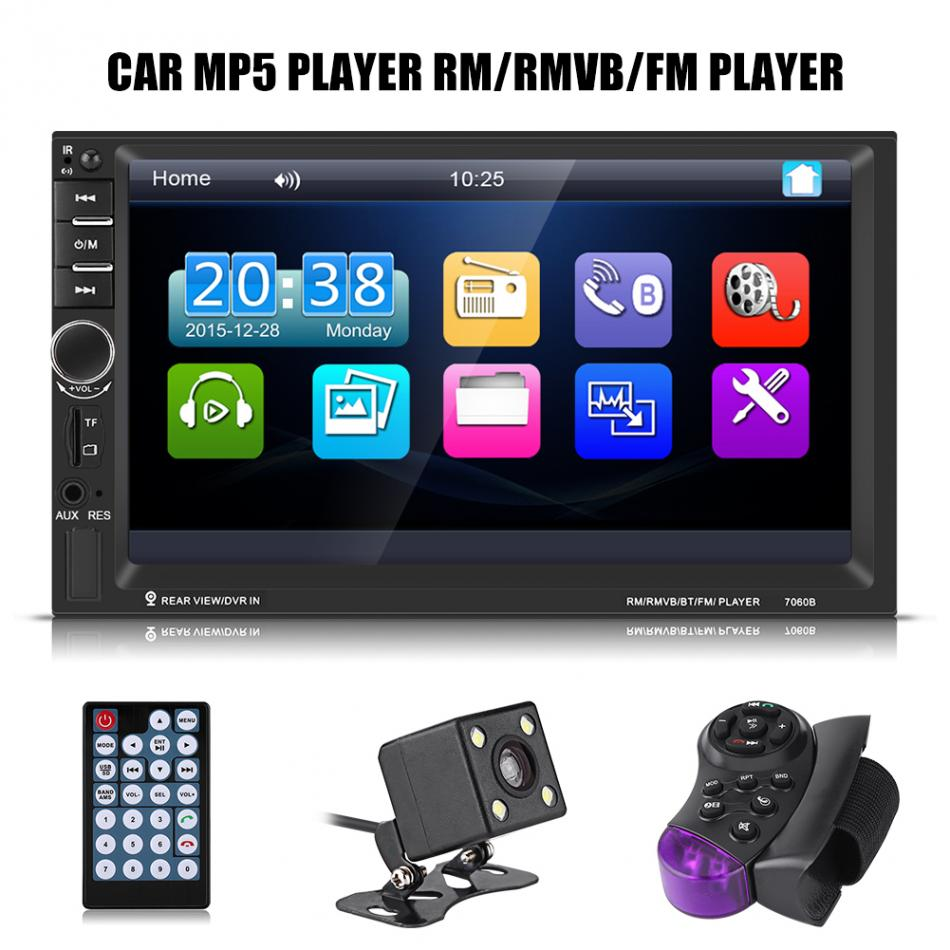 7inch HD Touch Screen Bluetooth Car MP5 Player FM Radio AUX USB Rearview Camera Remote Control car mp5 player with rearview camera gps navigation 7 inch touch screen bluetooth audio stereo fm function remote control