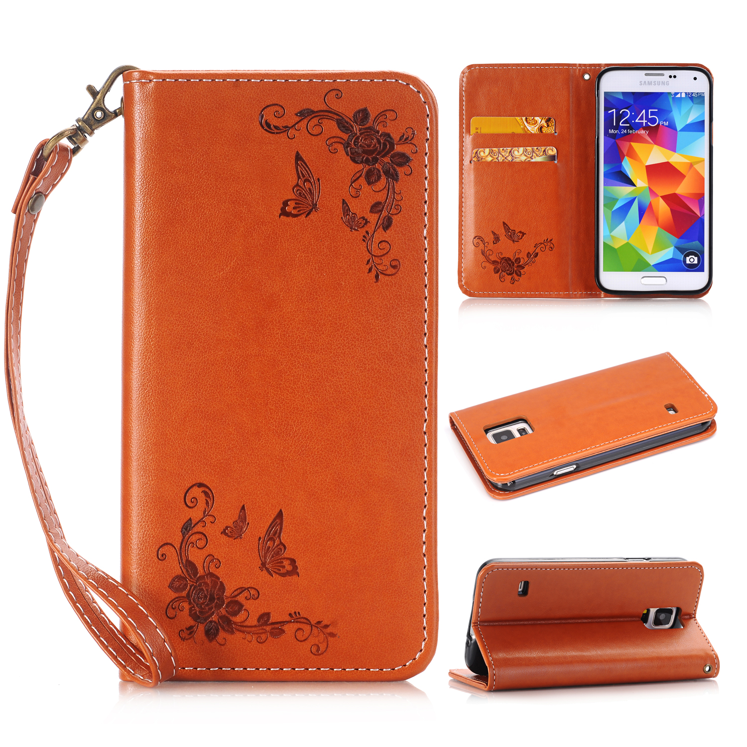 for <font><b>Samsung</b></font> Galaxy S5 Mini Case Luxury Embososed Wallet Cover Leather Flip Case Cover for <font><b>Samsung</b></font> Galaxy S5Mini G800 <font><b>G800F</b></font> G800H image