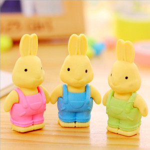 Image 3 - 27pcs/lot Cute Double leaf Bunny rubber design Eraser For Kids Lovely  Cute Stationery Children Gift