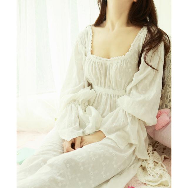 Envío Libre 100% Algodón Camisón Prinsty Pijama Camisón Largo Blanco Bordado ropa de noche del camisón de Las Mujeres feminino PT1617