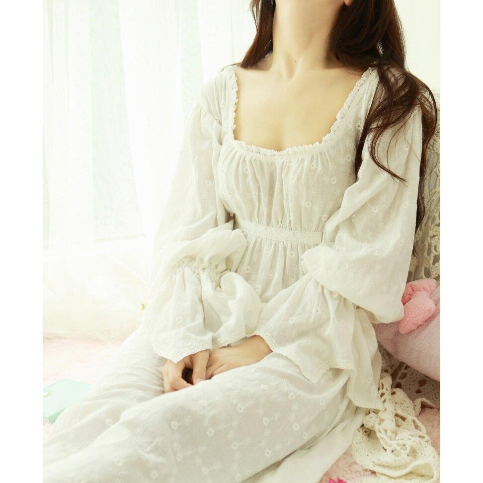 Free Shipping 100% Cotton Prinsty Nightdress Womens Nightgown Long White Pijama Embroidery Sleepwear nightdress feminino PT1617