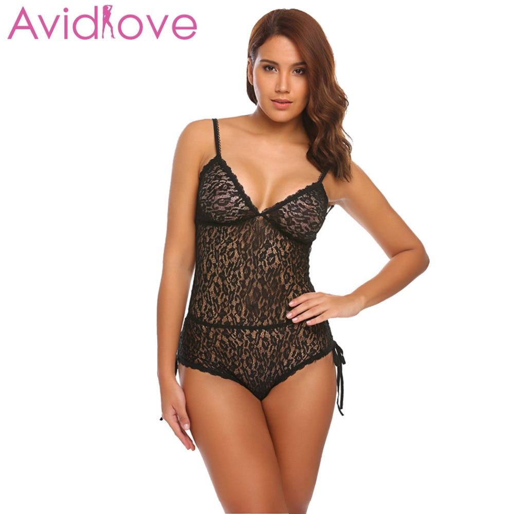 Avidlove Women Sexy One Piece Lingerie Teddies Bodysuit Hollow Lace Teddy Romper Overall Nightwear Plus Size Fancy Sex Underwear