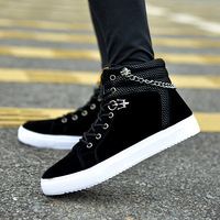 New 2018 Autumn Winter Fashion Men Shoes Black Flock Metal Chain Shoes Men Martin Boots Lace Up High Top Sheos for Male 38 45