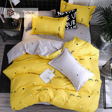 Liv-Esthete 2019 Eyelash Yellow Bedding Set Duvet Cover Single Double Queen King Bed Linen Flat Sheet Pillowcase For Adult(China)