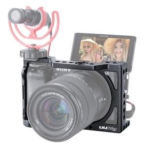 Image 1 - UURig A6400 אנכי L סוג צלחת Vlog דיור כלוב הר ידית וידאו Rig מצלמה סוגר בעל w מיקרופון קר נעל עבור Sony A6400