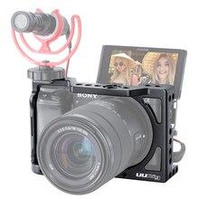Uurig A6400 Verticale L Type Plaat Vlog Behuizing Cage Mount Handvat Video Rig Camera Beugel Houder W Mic Koude Schoen voor Sony A6400