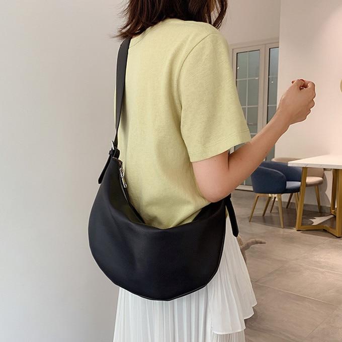 Wide Strap Women Shoulder Bags PU Leather Simple Designer Hobos Bags For Female Crossbody Bags Casual Bolsas Feminina Black