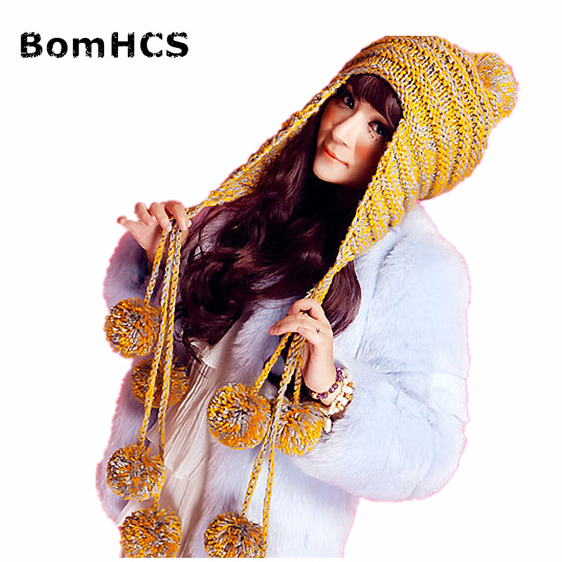 BomHCS New Fashion Designer Beanies Winter Hat with Ears Warm Beanie Girl Hats with 9 Poms