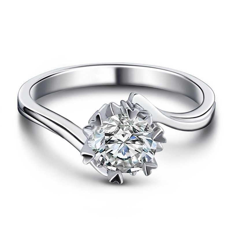 1ct Обручальное Кольцо женское кубическое циркониевое Сердце и стрелы ограненное кольцо пасьянс Настоящее серебро 925 пробы ювелирное изделие подарок для жены
